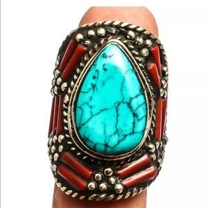 Tibetan Turquoise 925 Sterling Silver  Ring